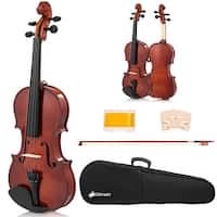 Costway Full Size 4/4 Violin Solid Wood with Hard Case Bow Rosin Bridge Student Starter - as pic