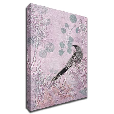 """Dusk Wattlebird in Pink by Trudy Rice 11""""X17"""", Print on Canvas, Ready to Hang"""