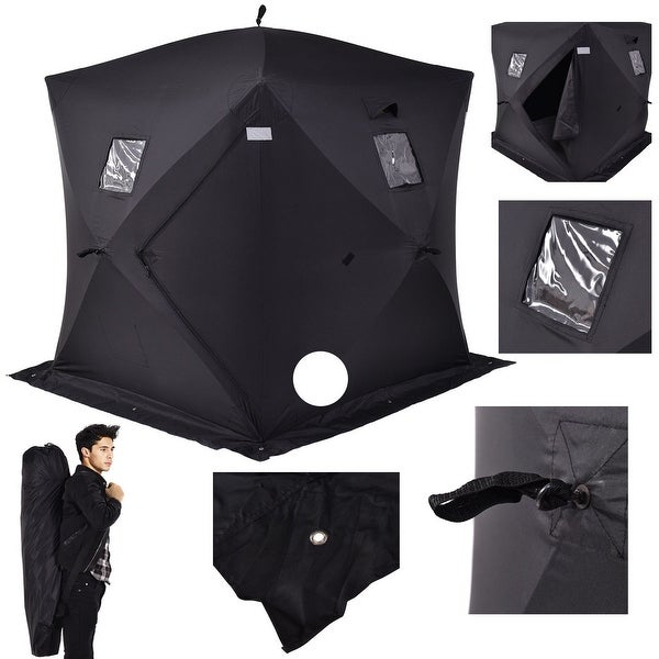 Costway 2-person Ice Fishing Shelter Tent Portable Pop Up House Outdoor Fish Equipment - Black