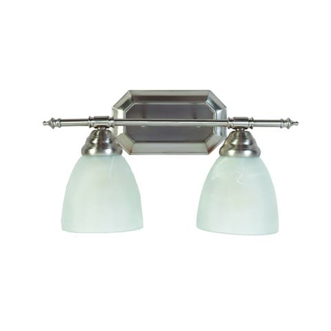 Jeffrey' 2-light Brushed Nickel Finish Bathroom Vanity Light