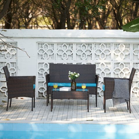 CO-Z 4 Piece Outdoor Patio Furniture Set, Sofa, Table & Chairs