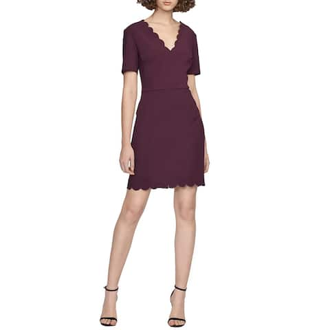 French Connection Womens Sheath Dress Berry Purple Size 4 Scallop Trim