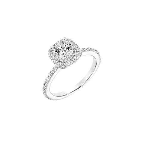Frederick Goldman BARONESS Platinum 0.75CT Lab Created Diamond Square Halo Engagement Ring Accents