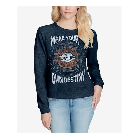 JESSICA SIMPSON Womens Navy Graphic Print Long Sleeve Crew Neck Sweater Size: L