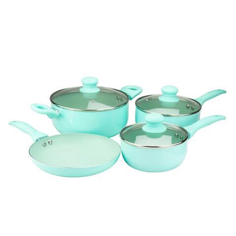 Brentwood 7 Piece Nonstick Aluminum Cookware Set in Blue