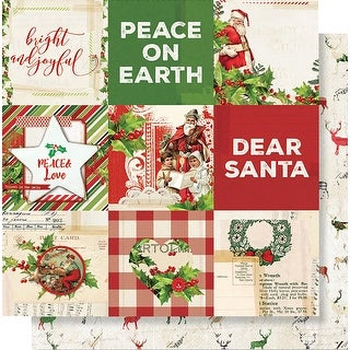 """Simple Vintage Christmas Double-Sided Cardstock 12""""X12""""-4""""X4"""" Elements"""
