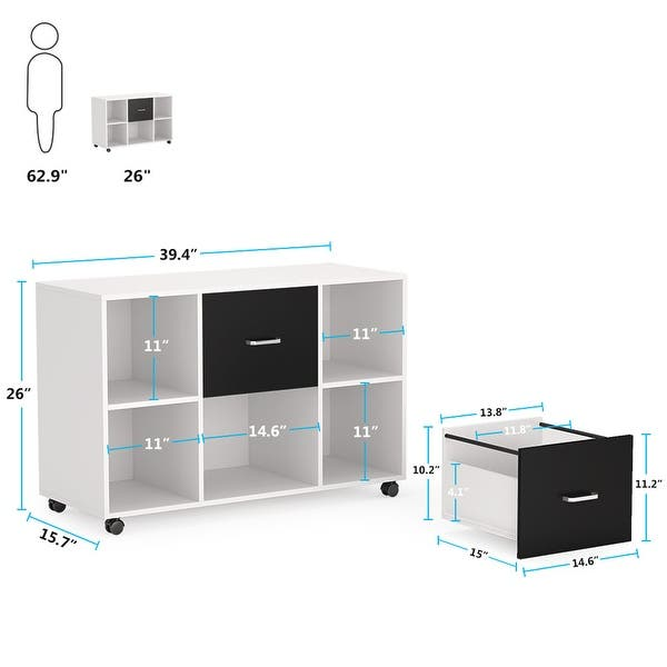 Shop Large Mobile Wood File Cabinet Lateral Filing Cabinet With 2 Drawers Black White Overstock 31864554