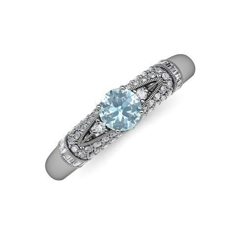 TriJewels Aquamarine Diamond 1 1/2 ctw Womens Engagement Ring 14K Gold