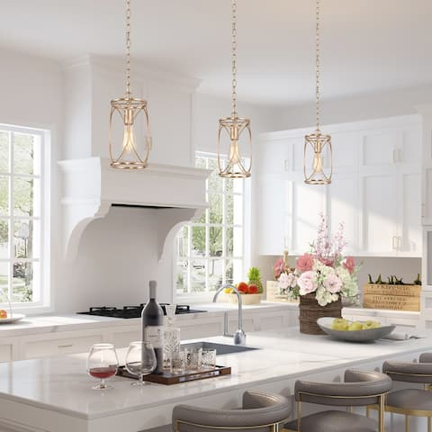 Modern Gold 1-light Pendant Lights Cylinder Ceiling Lamp for Dining Room - D6.5'' x H72.5''