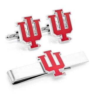 Indiana University Hoosiers Cufflinks and Tie Bar Gift Set - Silver