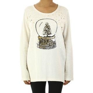 Style & Co. Cream Snow Globe Print Sweatshirt M