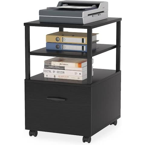 Rolling File Cabinet with Drawer, Printer Stand with Casters Mobile Office Filing Cabinet with 2 Open Shelves