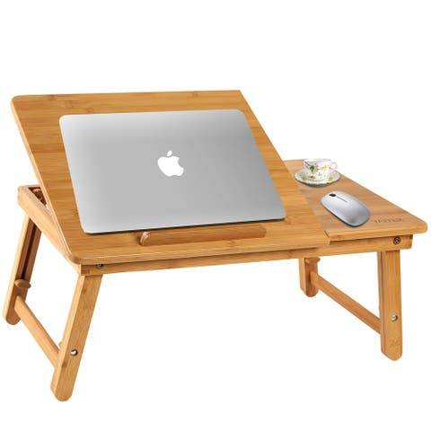 Vaiyer Bamboo Laptop Desk Table Foldable Breakfast Serving Bed Tray With Tilting Top Drawer Multifunctional Table, Floor Desk
