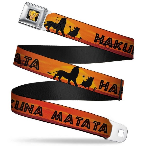 Simba2 Close Up Full Color Lion King Hakuna Matata Sunset Oranges Black Seatbelt Belt