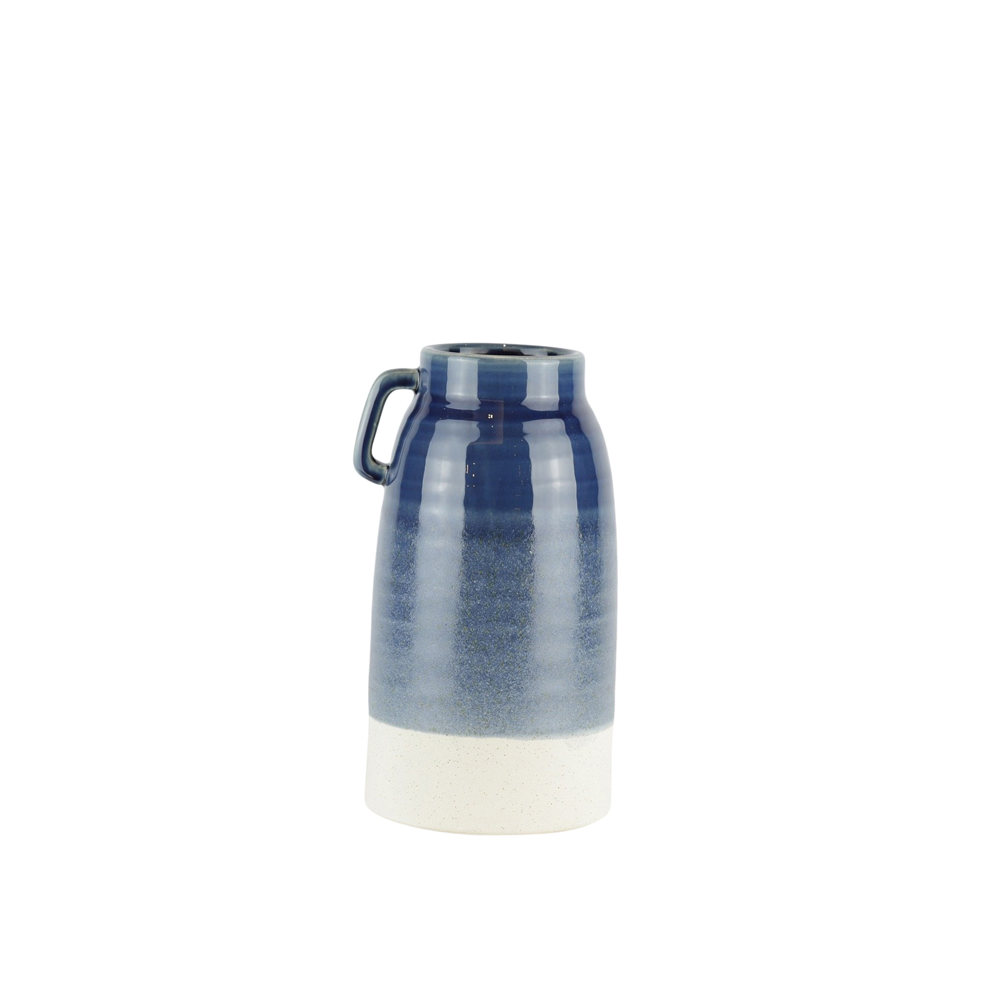 Dual Tone Decorative Ceramic Vase with Handle, Small, Blue and White