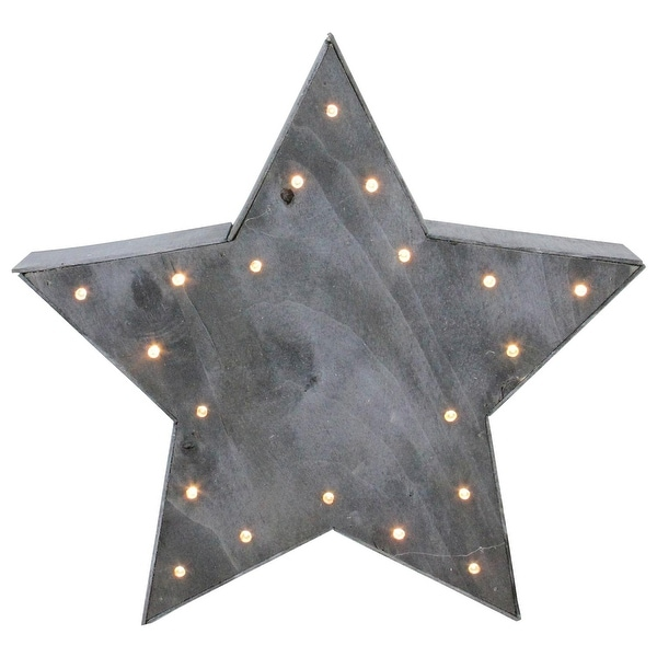11.75 Large Lighted Gray Star Christmas Table Top Decoration - black