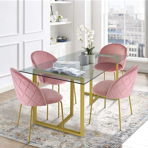 5 Piece Gold Glass Dining Table Set with Velvet Chairs