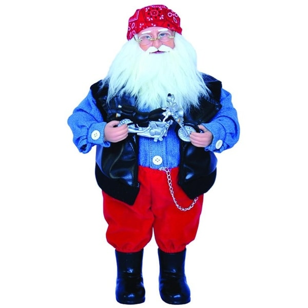 "15"" Born to Be Wild Motorcycle Biker Santa Claus Christmas Figure with Toy Bike"