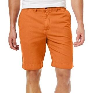Tommy Hilfiger Mens Casual Flat Front Shorts 30 Dark Orange 9 inch Inseam