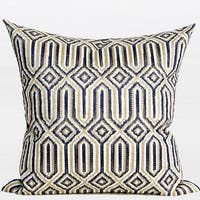 "G Home Collection Luxury Blue Classical Geometry Pattern Embroidered Pillow 20""X20"""