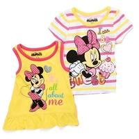 Little Girls Yellow Disney Minnie Mouse Print Tank Top T-Shirt 2 Pc Set