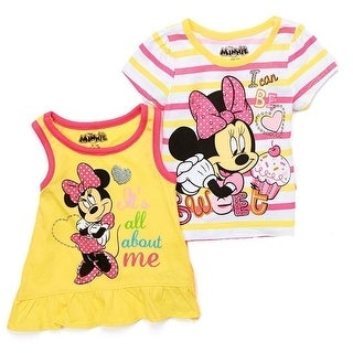 Little Girls Yellow Disney Minnie Mouse Print Tank Top T-Shirt 2 Pc Set
