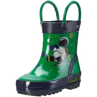 Kids Kamik Boys Orbit Rubber Mid-Calf Pull On Rain Boots