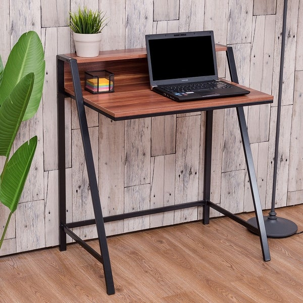 Costway 2 Tier Computer Desk PC Laptop Table Study Writing Home Office  Workstation