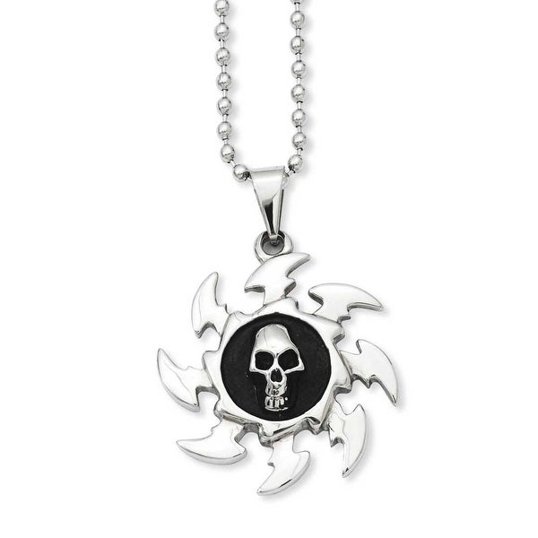 Stainless Steel Antiqued Saw Blade with Skull Pendant Necklace (2 mm) - 24 in