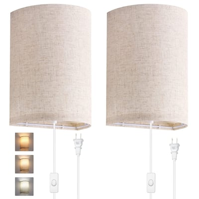 1-Light Round Fabric Wall Lamp with Bulb (Pack of 2)