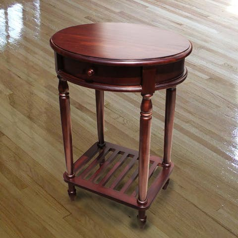 Offex Solid Kiln Dried Mahogany Bellingham Oval Lamp Table 1 Drawer
