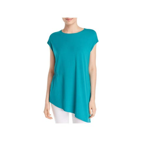 Eileen Fisher Womens Petites Tunic Top Asymmetric Cap Sleeve
