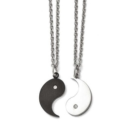 Chisel Stainless Steel 1/2 Brushed Black IP Ying w/ CZ & 1/2 Polished Yang Necklace Set