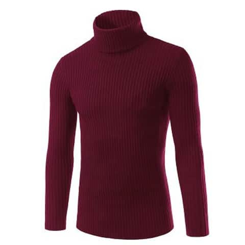 Fashion casual turtleneck sweater Men's autumn and winter solid color vertical sweater