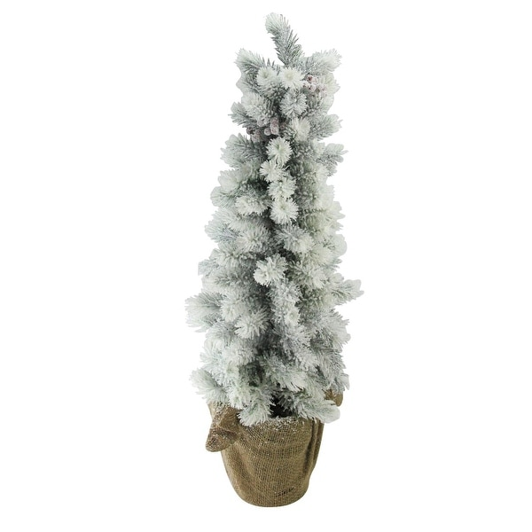 """28"""" Flocked Mini Pine Christmas Tree with Berries in Burlap Covered Vase - green"""