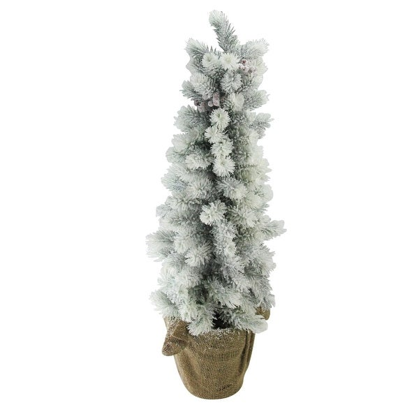 "28"" Flocked Mini Pine Christmas Tree with Berries in Burlap Covered Vase - N/A"