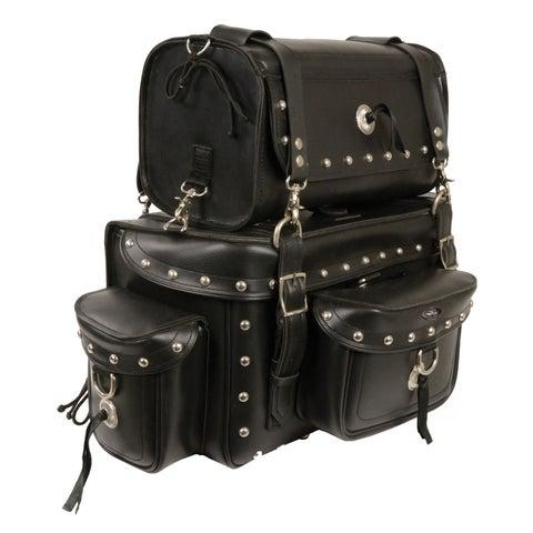 Heavy Duty Studded Motorcycle Sissy Bar Bag 18X12X9