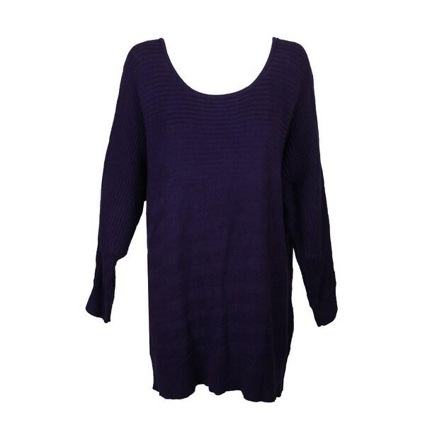 b0f9edc0c9a Alfani Plus Size Purple Dolman-Sleeve Mixed Knit Boat Neck Sweater 1X