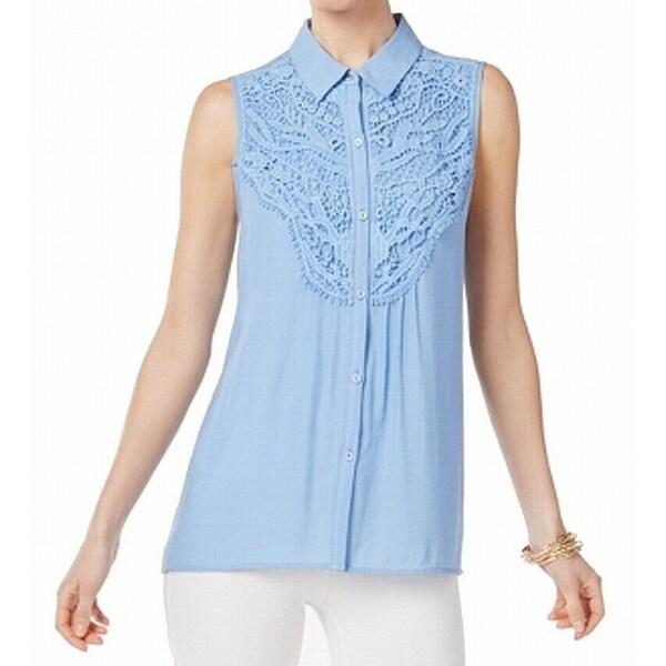 NY Collection Blue Women's Size XL Crochet Lace Trim Blouse