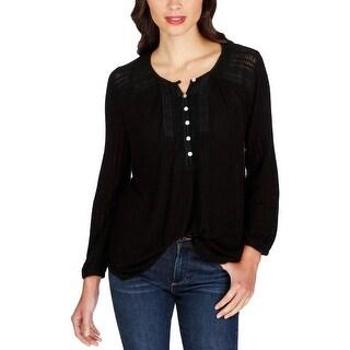 Lucky Brand Womens Henley Top Linen Blend Knit