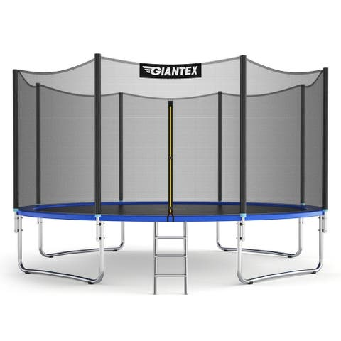 12/14 ft Trampoline Bounce Jump Combo with Spring Pad-12' - Blue - 12' x 8.5' (D x H)