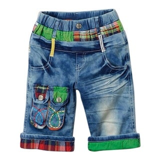 Rock'nStyle Baby Boys Blue Red Plaid Green Knee-Length Denim Pants - 18-24 months
