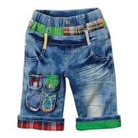 Rock'nStyle Boys Blue Red Plaid Green Knee-Length Denim Pants