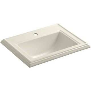 "Kohler K-2241-1 Memoirs 17"" Drop In Bathroom Sink with 1 Hole Drilled and Overflow"