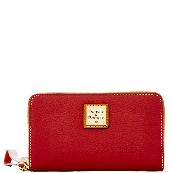 Dooney & Bourke Pebble Grain Zip Around Phone Wristlet (Introduced by Dooney & Bourke at $118 in Jul 2016) - wine
