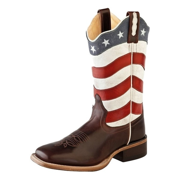Old West Cowboy Boots Womens Flag Scallop Square Toe Brown Red