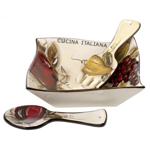 Cucina Italiana Ceramic Square Salad Serving Bowl with Servers 10 x 10 Inches Soft White - N/A/10 x 10 x 5