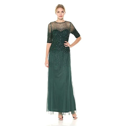 Adrianna Papell 3/4 Sleeve Beaded Illusion Gown Sweetheart Neckline