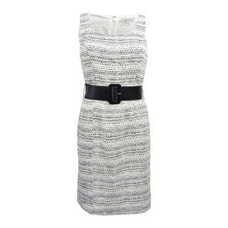 Tahari ASL Women's Belted Boucle Sheath Dress - ivory/black/blue