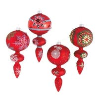 Set of 4 Dazzling Red Snowflake Design Glass Finial Christmas Ornaments 7""